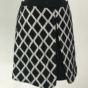 Elizabeth and James Black/White Lattice Mini Skirt